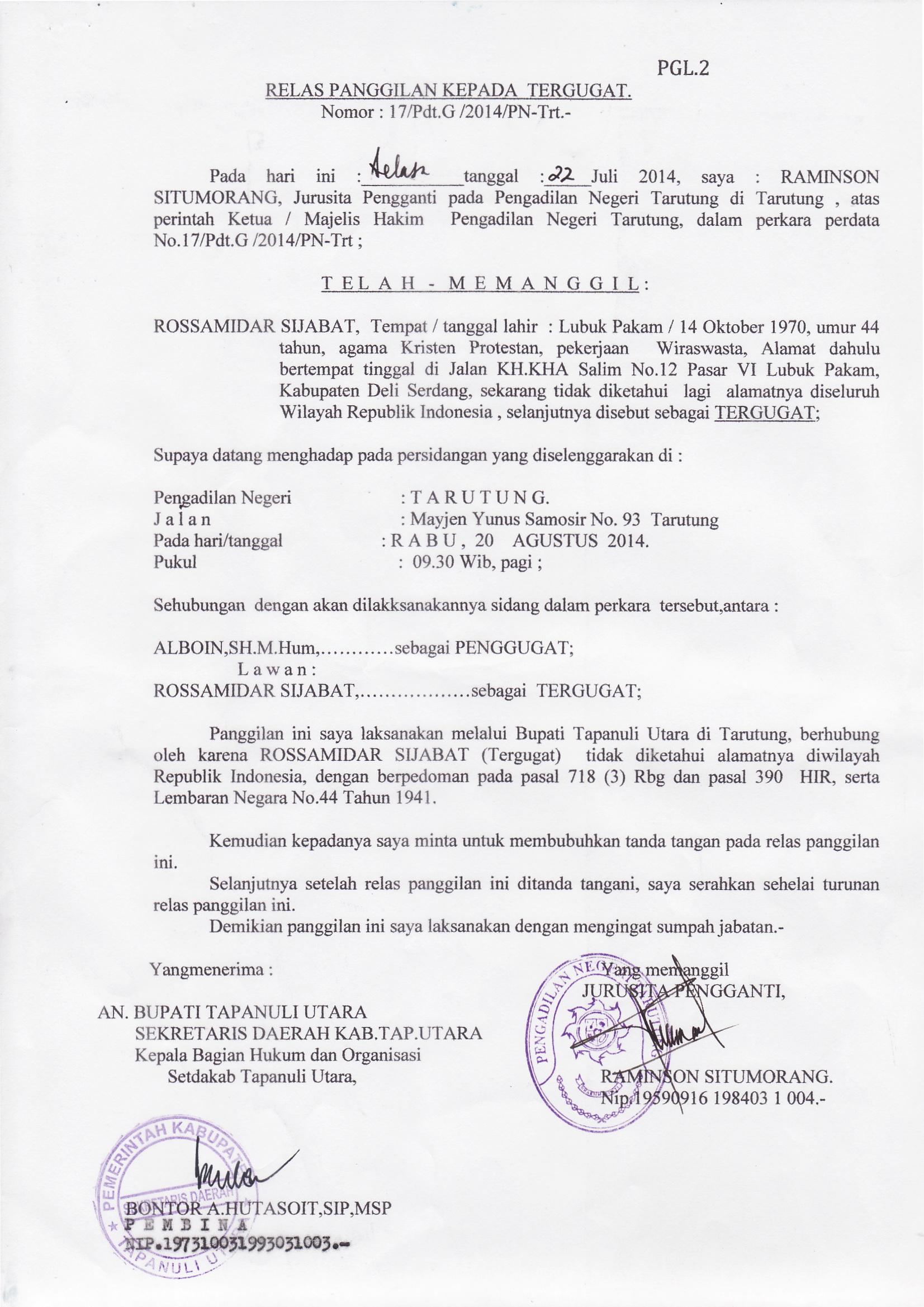 Relaas Panggilan Umum : 17/Pdt.G/2014/PN.TRT